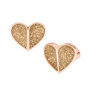 KATE SPADE • Gold Glitter Heritage Heart Earrings